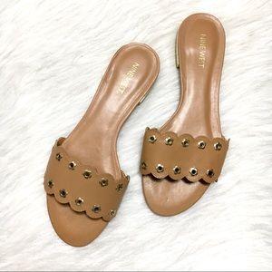 Nine West Frog Prince Leather Slip On Sandals